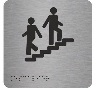 """Picto alu avec braille et relief """"Escalier"""""""