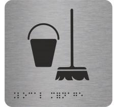 """Pictogramme avec braille et relief logo """"Local ménage"""""""