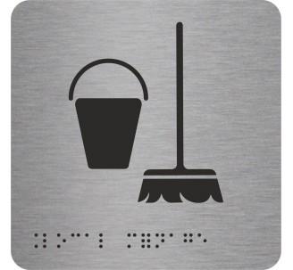 """Pictogramme en alu avec braille et relief logo """"Local ménage"""""""