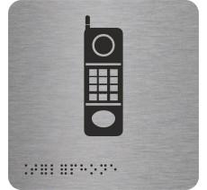 """Picto avec braille et relief """"Téléphone"""", 5 couleurs au choix"""