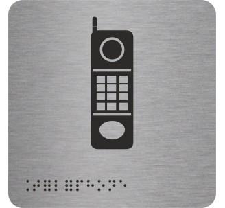 """Pictogramme en alu avec braille et relief   """"Téléphone"""""""