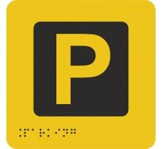 """Picto avec braille et relief """"Parking"""", 5 couleurs au choix"""