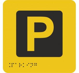 """Pictogramme en alu avec braille et relief """"Parking"""""""