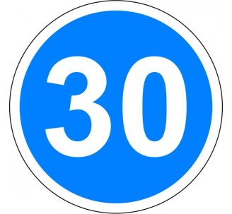 """Kit ou panneau seul type routier """"Vitesse minimale obligatoire - 30kmh"""" ref: B25"""