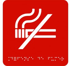"""Picto avec braille et relief """"Défense de fumer"""", 5 couleurs au choix"""