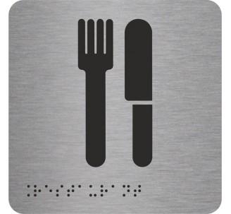 """Pictogramme en alu avec braille et relief """"Restaurant"""""""