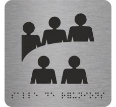"""Picto avec braille et relief """"Salle de réunions"""", 5 coloris au choix"""