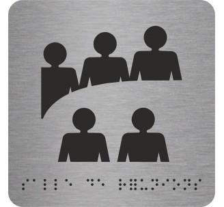 """Pictogramme en alu avec braille et relief """"Salle de réunions"""""""
