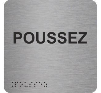 """Picto alu avec braille et relief """"Poussez"""", 5 coloris au choix"""