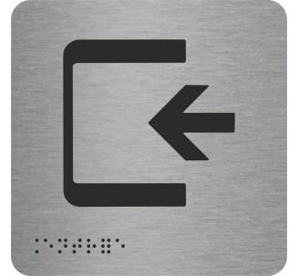 """Pictogramme en alu avec braille et relief """"Entrée"""""""