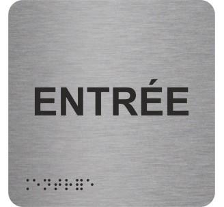 """Picto alu avec braille et relief """"Entrée"""", 5 couleurs au choix"""