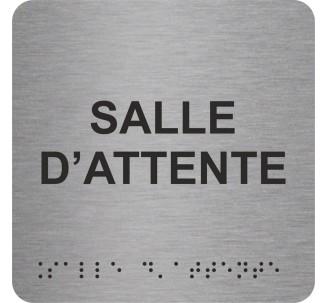 """Picto alu avec braille et relief """"Salle d'attente"""", 5 couleurs au choix"""