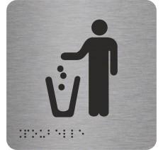 """Picto avec braille et relief logo """"Poubelle"""", 5 couleurs au choix"""
