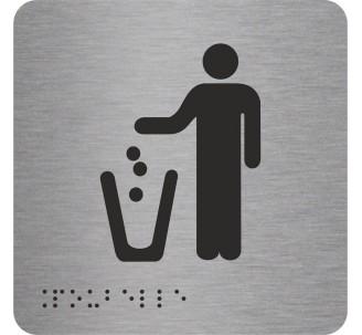 """Picto alu avec braille et relief logo """"Poubelle"""", 5 couleurs au choix"""