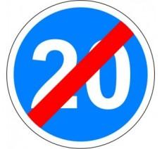 """Kit ou panneau seul type routier """"Fin de vitesse obligatoire -20kmh"""" ref: B43"""
