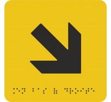 """Picto avec braille et relief """"Flèche"""" en bas vers la droite, 5 couleurs au choix"""