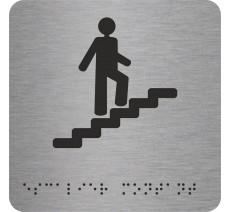 """Picto avec braille et relief """"Escalier"""" montant, 5 couleurs au choix"""
