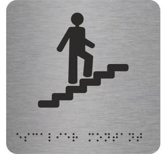 """Picto alu avec braille et relief """"Escalier"""" montant, 5 couleurs au choix"""