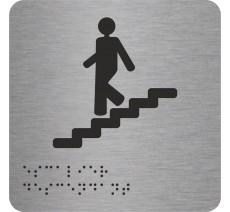 """Picto avec braille et relief """"Escalier"""" descendant, 5 couleurs au choix"""