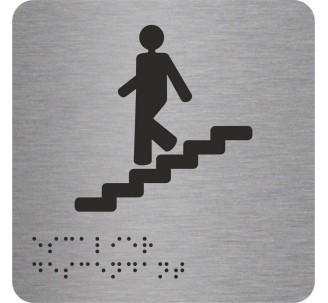 """Picto alu avec braille et relief  """"Escalier"""" descendant, 5 couleurs au choix"""