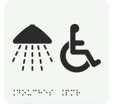 """Picto avec braille et relief """"Douche , Handicapés"""", 5 couleurs au choix"""