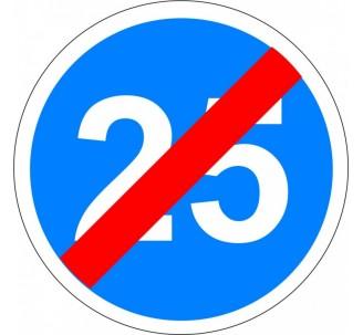 """Kit ou panneau seul type routier """"Fin de vitesse minimale obligatoire - 25kmh"""" ref: B43"""
