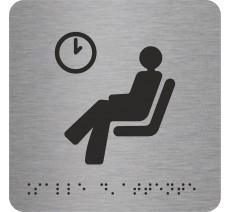 """Picto avec braille et relief logo """"Salle d'attente"""", 5 couleurs au choix"""
