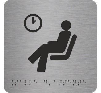 """Picto alu avec braille et relief logo """"Salle d'attente"""", 5 couleurs au choix"""