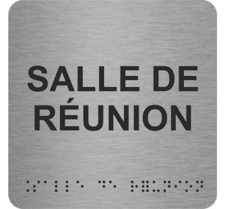 """Picto alu avec braille et relief """"Salle de réunion"""", 5 couleurs au choix"""