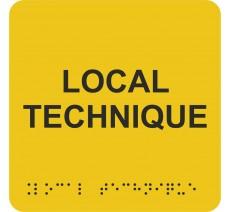 """Picto avec braille et relief """"Local technique"""", 5 couleurs au choix"""