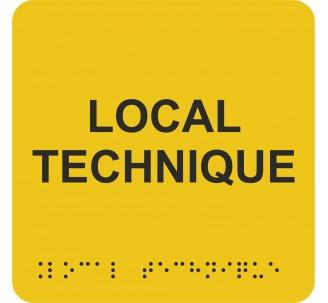 """Picto alu avec braille et relief """"Local technique"""", 5 couleurs au choix"""