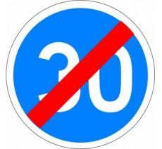 """Kit ou panneau type routier """"Fin de vitesse minimale obligatoire - 30kmh"""" ref: B43"""