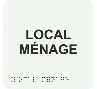 """Picto alu avec braille et relief """"Local ménage"""", 5 couleurs au choix"""
