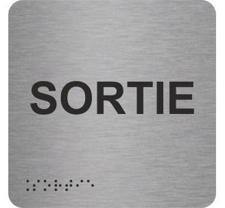 """Picto alu avec braille et relief """"Sortie"""", 5 couleurs au choix"""