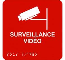 """Picto avec braille et relief """"Surveillance Vidéo"""", 5 couleurs au choix"""