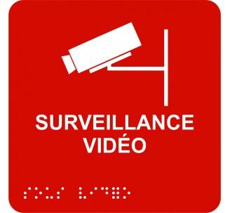 """Picto alu avec braille et relief """"Surveillance Vidéo"""", 5 couleurs au choix"""