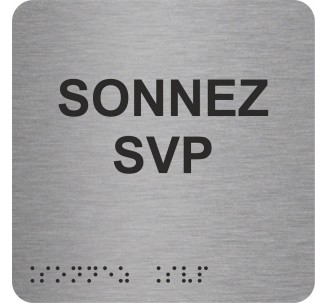 """Picto alu avec braille et relief """"Sonnez SVP"""", 5 couleurs au choix"""