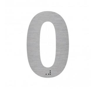 """Chiffre """"0"""" + braille en alu découpé"""