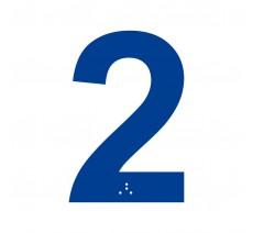 """Chiffre """"2"""" + braille en alu découpé 100 ou 150mm de haut"""