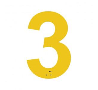 """Chiffre """"3"""" + braille en alu découpé"""