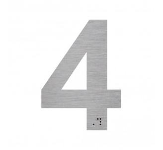 """Chiffre """"4"""" + braille en alu découpé"""