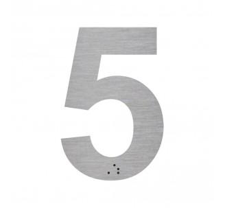 """Chiffre """"5"""" + braille en alu découpé"""