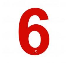 """Chiffre """"6"""" + braille en alu découpé 100 ou 150mm de haut"""