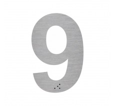 """Chiffre """"9"""" + braille en aluminium découpé 100mm ou 150mm de haut"""