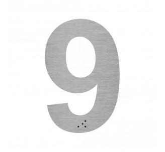 """Chiffre """"9"""" + braille en aluminium découpé"""