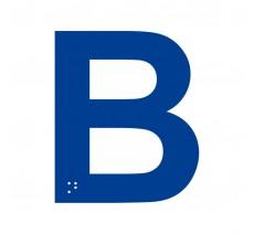 """Lettre """"B"""" + braille en aluminium découpé 100mm ou 150mm de haut"""