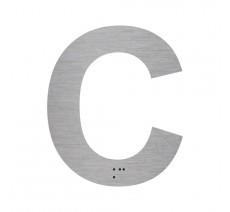 """Lettre """"C"""" + braille en aluminium découpé 100mm ou 150mm de haut"""