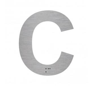 """Lettre """"C"""" + braille en aluminium découpé"""