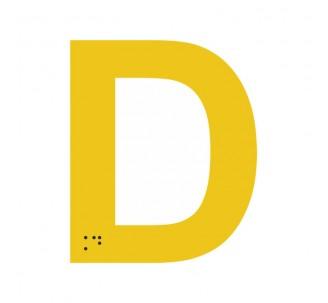 """Lettre """"D"""" + braille en aluminium découpé"""