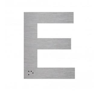 """Lettre """"E"""" + braille en aluminium découpé"""